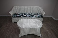 White Wicker sofa and Table in Kingwood, Texas