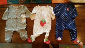 3 Pair Girls Sz 6 month Footie Pajamas/PJs in Okinawa, Japan