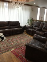 Three piece leather couch in New condition in Okinawa, Japan