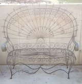 vintage 1970s wrought iron peacock love seat and three matching chairs in Fort Leonard Wood, Missouri