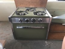 Holiday camper trailer vintage propane oven and stove in Yucca Valley, California