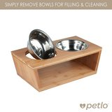 Petlo Elevated Dog and Cat Bamboo Pet Feeder, Double Bowl Raised Stand Comes with Two Stainless ... in Aurora, Illinois