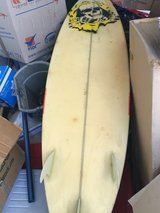 """mike Richards surfboard 6'1""""/ good condition/with leash and tail traction pad in Yucca Valley, California"""