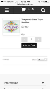 Shabbat tempered glass tray in Warner Robins, Georgia