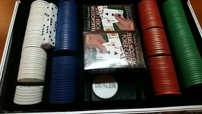 Casino Poker Chips Set With Texas Holdem Playing Cards And Chips With Case in Okinawa, Japan