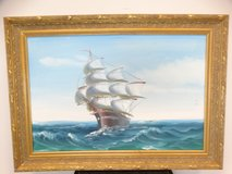 Large Original Ship Painting in Goldlike Frame in Pearland, Texas