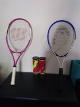New tennis racquets and balls in Warner Robins, Georgia