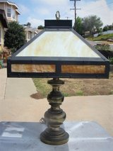 Vintage Brass Lamp With Slag Glass Shade in Camp Pendleton, California