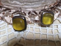 Vintage Earrings Large Citrine Colored Stone Silver Setting NJD on Back in Kingwood, Texas