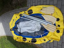 Small rubber raft with paddles in Grafenwoehr, GE