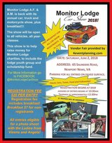 Monitor Lodge Car Show in Hampton, Virginia