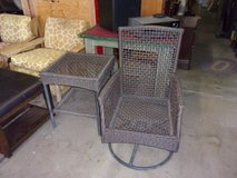 Two Piece Wicker Swivel Chair and End Table Set in Fort Riley, Kansas