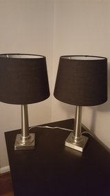 2 Silver lamps/Black shades, 19H in Wright-Patterson AFB, Ohio