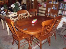 Oak Ball and Claw Table and Six Chairs Set in Fort Riley, Kansas