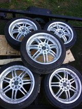 Set of 5, 17in rims+new tires in Fort Campbell, Kentucky