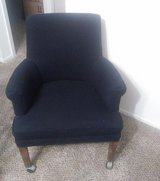 four wood chairs covered in heavy duty dark blue frabic in Conroe, Texas