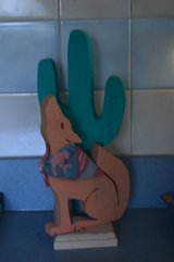 """12"""" Painted Wood Cactus & Coyote in Alamogordo, New Mexico"""