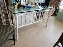 White Glass Topped Rattan Table #1594-2743 in Camp Lejeune, North Carolina