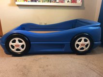 Blue toddler race car bed in Elgin, Illinois