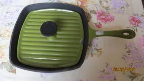 Square Green Enamel Cast Iron Panini Pan Grill with Lid - no makers mark in Macon, Georgia
