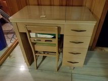 Mid Century Modern Cabinet & Chair w/ Necchi BF Mira SEWING MACHINE & accessories Italy in Westmont, Illinois