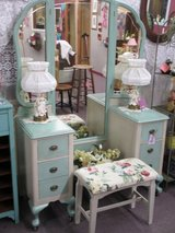 Beautiful Vintage Dressing Vanity With Mirror And Bench At Twice As Nice Flea Market Booth # 605 in Camp Lejeune, North Carolina
