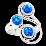 New - Blue Fire Opal 925 Sterling Silver Ring - Size 6 in Alamogordo, New Mexico