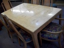 Retro Hardwood Table with 6 Upholstered Chairs [2 Captains] in Cherry Point, North Carolina