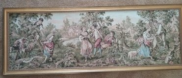 Victorian Framed Tapestry ~ 59x22 ~ Village Green Blue Pink in Fairfield, California