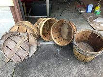 wooden bushel baskets and lids in Cherry Point, North Carolina