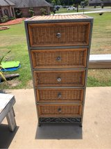 Tall Wicker and Wrought Iron Dresser in Leesville, Louisiana