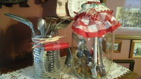 Vintage Pickle Jar & Glass container Filled w/Antique Kitchen Utensils-Assemble by Crafter in Lockport, Illinois