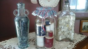 Antique Vintage Bottles & Mason Jar Filled w/Spools of Thread & Buttons Assembled by Crafter in Glendale Heights, Illinois