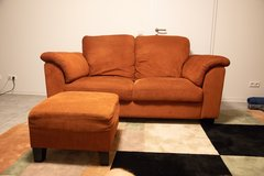 Ikea Couch - Orange and Ottoman in Stuttgart, GE