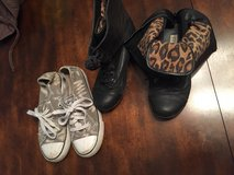 Girls sz 2 cheetah boots and play shoes in Leesville, Louisiana