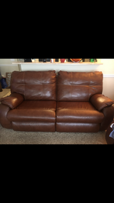 Leather rust orange couch in Fort Rucker, Alabama