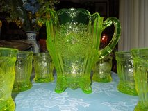 Vaseline glass pitcher w/ 6 glasses in Perry, Georgia