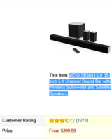 VIZIO SB3851-C0 38-Inch 5.1 Channel Sound Bar with Wireless Subwoofer and Satellite Speakers in Fort Knox, Kentucky