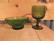 Green Glass Bowl and Goblet in Macon, Georgia