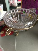 Glass Bowl with Gold Stand in Joliet, Illinois