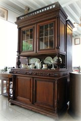 Henri II dining room hutch with stained glass in Ansbach, Germany