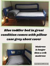 Blue toddler bed in Chicago, Illinois