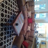 Large Tan Sectional with 2 attached recliners in Cherry Point, North Carolina