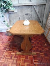 Very Thick Rustic Oak Table with Clipped Corners 4-6 Seater in Ramstein, Germany