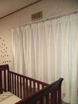 White Japanese Curtains in Okinawa, Japan