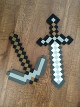 Minecraft foam sword and axe in Fort Campbell, Kentucky