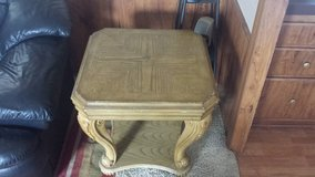 Wood end table in Fort Riley, Kansas