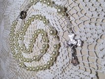 Rosary Ivory Pearls Bride Rosary Crystal Accents Italian Silver Medal and Crucifix Regal in Kingwood, Texas