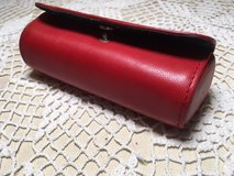 Lipstick Case with Mirror Leather Red Snaps Closed Never Used in Kingwood, Texas