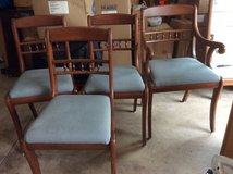 Four saber leg dining room chairs (3 armless, 1 armchair) in Algonquin, Illinois